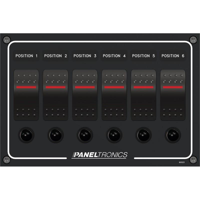 Paneltronics Waterproof Panel - DC 6-Position Illuminated Rocker Switch - Circuit Breaker