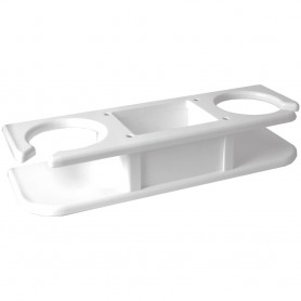 TACO 2-Drink Poly Cup Holder w--Catch-All- - White