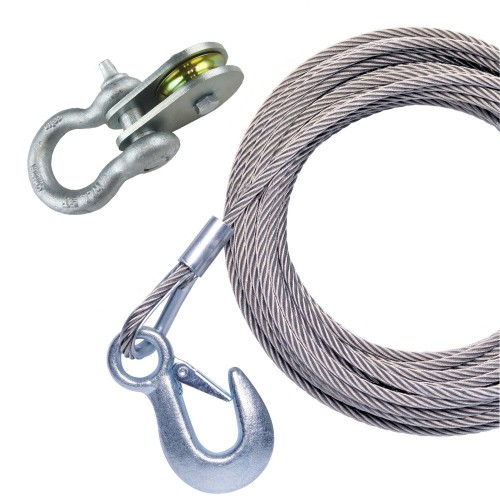 Powerwinch 25- x 7-32- Stainless Steel Universal Premium Replacement Galvanized Cable w-Pulley Block