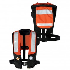 Mustang Deluxe Auto Inflatable PFD w-SOLAS Reflective Tape - Orange-Black