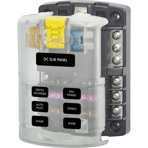 Blue Sea 5025 ST Blade Fuse Block w-Cover - 6 Circuit w-Negative Bus