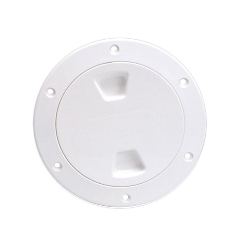 Beckson 4- Smooth Center Screw-Out Deck Plate - White
