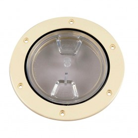 Beckson 4- Clear Center Screw-Out Deck Plate - Beige