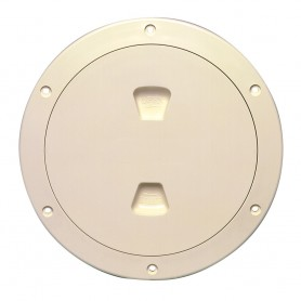 Beckson 6- Smooth Center Screw-Out Deck Plate - Beige