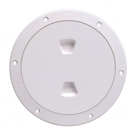 Beckson 6- Smooth Center Screw-Out Deck Plate - White