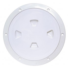 Beckson 8- Smooth Center Screw-Out Deck Plate - White