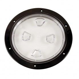 Beckson 8- Clear Center Screw-Out Deck Plate - Black