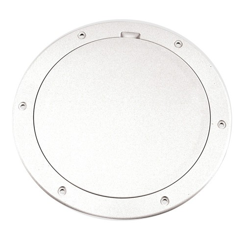 Beckson 6- Smooth Center Pry-Out Deck Plate - White