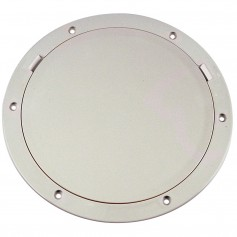 Beckson 8- Smooth Center Pry-Out Deck Plate - White