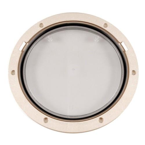 Beckson 8- Clear Center Pry-Out Deck Plate - Beige