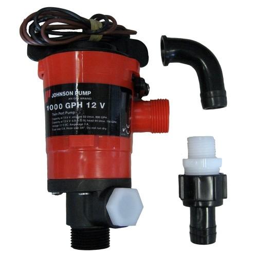 Johnson Pump Twin Port 1000 GPH Livewell Aerating Pump - 12V