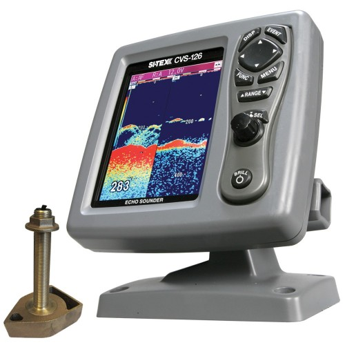 SI-TEX CVS-126 Dual Frequency Color Echo Sounder w-600kW Thru-Hull Transducer 1700-50-200T-CX