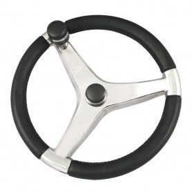 Schmitt Ongaro Evo Pro 316 Cast Stainless Steel Steering Wheel w-Control Knob - 13-5- Diameter