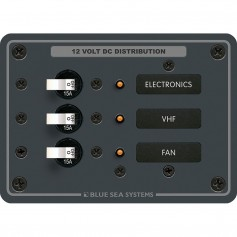 Blue Sea 8025 DC 3 Position Breaker Panel - White Switches