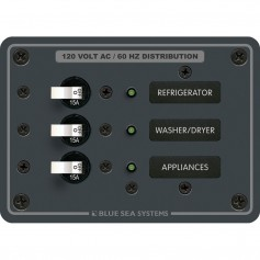 Blue Sea 8058 AC 3 Position Toggle Circuit Breaker Panel -White Switches-