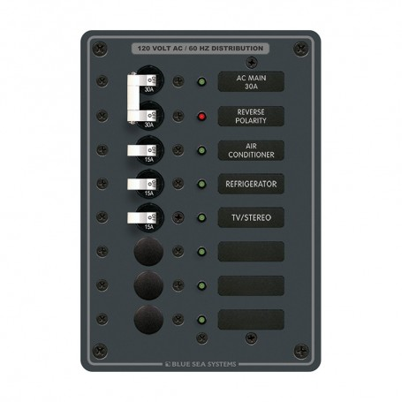 Blue Sea 8027 AC Main -6 Position Breaker Panel - White Switches