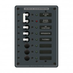 Blue Sea 8027 AC Main -6 Position Breaker Panel -White Switches-