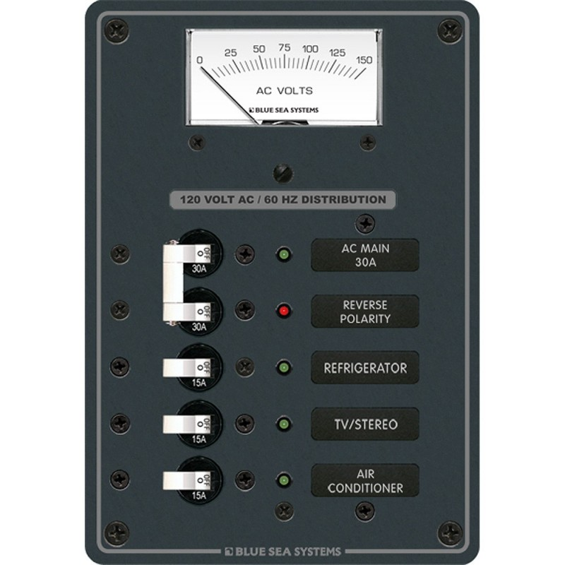 Blue Sea 8043 AC Main -3 Positions Toggle Circuit Breaker Panel - White Switches