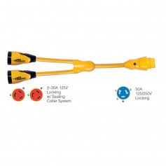 Marinco Y504-2-30 EEL -2--30A-125V Female to -1-50A-125-250V Male -Y- Adapter - Yellow