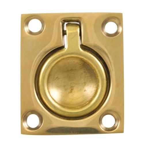 Whitecap Flush Pull Ring - Polished Brass - 1-1-2- x 1-3-4-