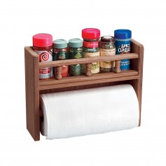 Whitecap Teak Paper Towel Holder w-Spice Rack