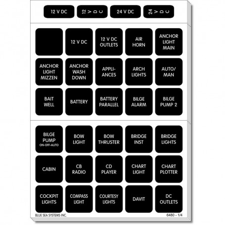 Blue Sea 4218 Square Format Label Set for Battery Management Panels - 30