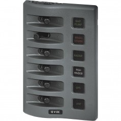 Blue Sea 4306 WeatherDeck Water Resistant Fuse Panel - 6 Position - Grey